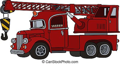 The funny classic red truck crane