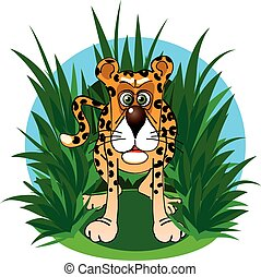 The funny jaguar in the jungle