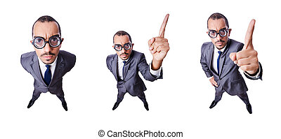 The funny nerd businessman isolated on white