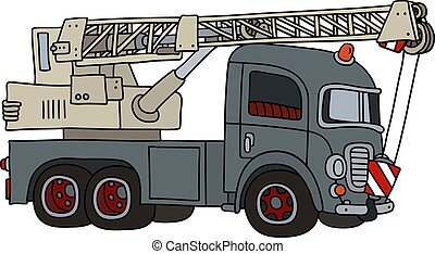 The funny old gray truck crane