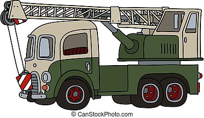 The funny old green and white truck crane