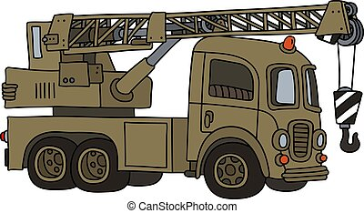 The funny old military truck crane