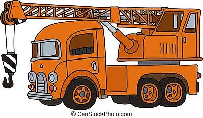 The funny old orange truck crane