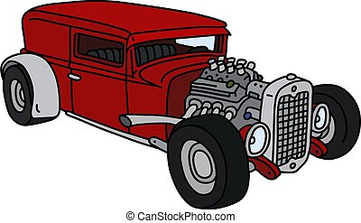 The funny red hotrod