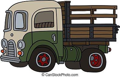 The funny retro green and cream truck