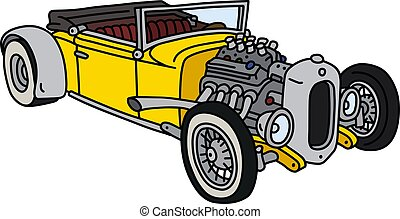 The funny yellow hotrod