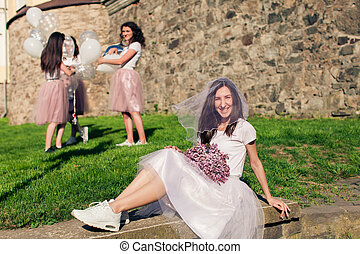 The future bride on the hen party