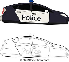 future flying police car vector drawing illustration