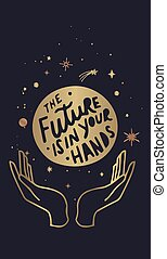 the future is in your hands. Boho chic TAROT CARDS tattoo, poster or altar veil design for print vector illustration