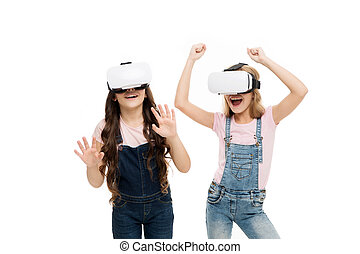 The future of VR is here. Little girls wearing virtual reality headsets. Future of entertainment and education. The future of entertainment. Future concept
