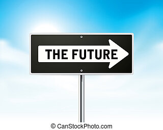 the future on black road sign
