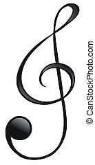 The G-clef symbol - Illustration of the G-clef symbol on a...