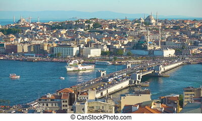 The Galata Bridge and old town of Istanbul