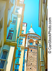 The Galata Tower in Istanbul - Old street in Istanbul and...