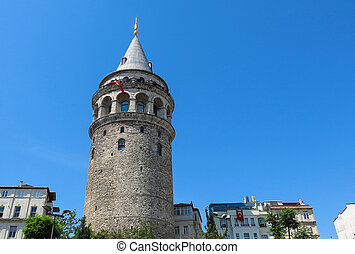 The Galata tower in Istanbul, Turkey. Galata Bridge, Karakoy district and Golden Horn, istanbul.