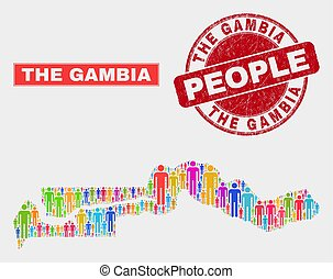 The Gambia Map Population Demographics and Corroded Stamp ...