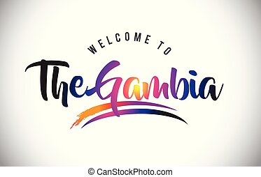 The Gambia Welcome To Message in Purple Vibrant Modern Colors.