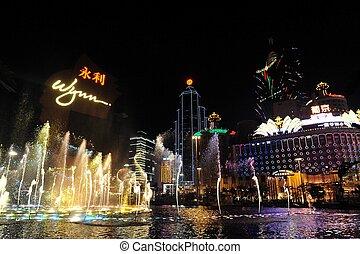 The Gaming Industry of Macao - MACAU - FEB 20:Casino Lights ...
