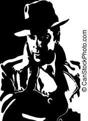gangster - the gangster in a black cloak and hat on a white...