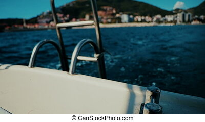 The gangway of the boat in Montenegro - The gangway of the...
