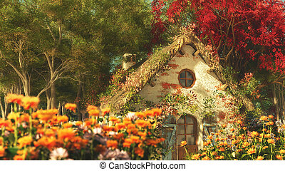 3D computer graphics of a late summer landscape with garden cottage