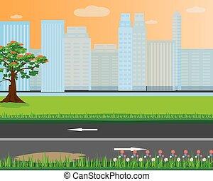 the garden in city vector design