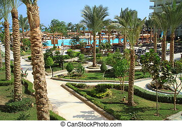 The garden of a large hotel in Hurghada Egypt