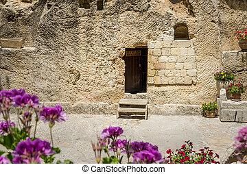 The Garden Tomb in Jerusalem, Israel - Entrance to the tomb....