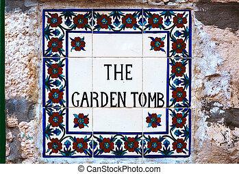 The Garden Tomb sign in Jerusalem