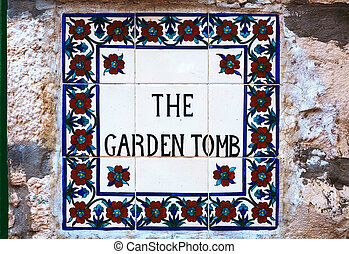 The Garden Tomb sign in Jerusalem