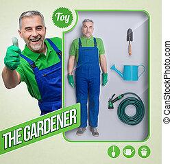The gardener lifelike doll