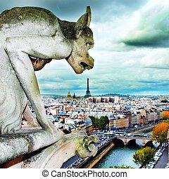 The gargoyle dinner, Notre Dama, Paris - France