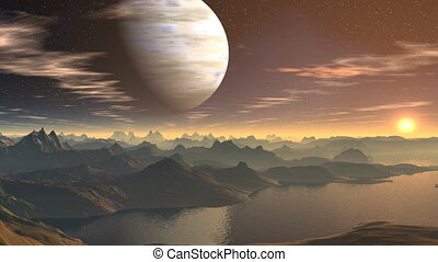 The gas giant and sunrise