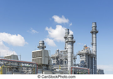 The gas turbine power plant for industrial park with the blue sky