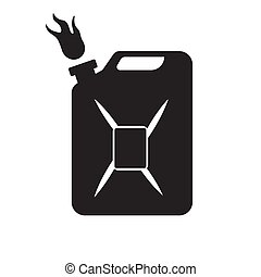 The gasoline canister icon is black on an isolated white background. Vector image