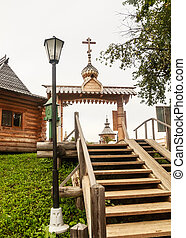The gate on the territory of the Falls Gremyachiy key. Moscow region