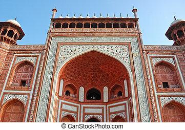 The gate to Taj Mahal