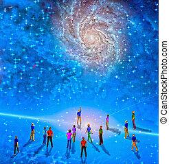 People gather in mystery Sci fi like scene