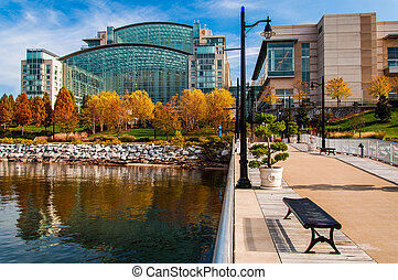The Gaylord National Resort, seen from a pier in the Potomac River in National Harbor, Maryland.