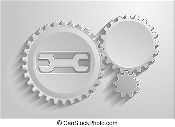 the gears on gray background with shadows.