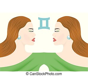the gemini lady - the illustration with the sign of zodiac -...