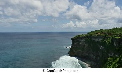 The general plan of paradise sea sky rocks waves in Indonesia.