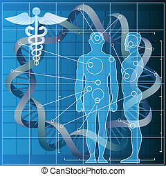 The genetic code - Illustration with double helix and human...