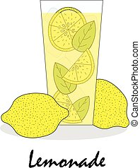 The gentle drawn illustration of a glass with lemonade and lemons on a white background.