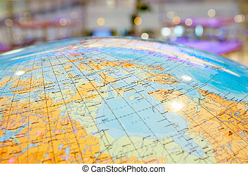 The geographical globe - Top of the geographical globe on a...