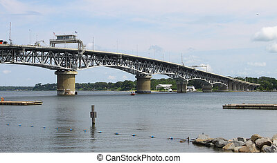 The George P Coleman bridge in Yorktown Virginia over the York river going to Gloucester Virginia