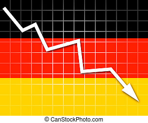 The German flag and arrow graph going down