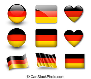 The German flag - set of icons and flags. glossy and matte ...