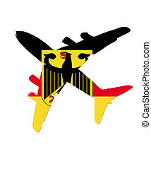 The Germany flag painted on the silhouette of a aircraft. glossy illustration