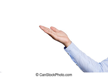 The gesture of a hand open on white background, isolated